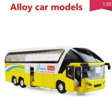 1:32合金車モデル、高シミュレーションツアーバス、金属diecasts、おもちゃの車、プルバック&点滅&ミュージカル、送料無料