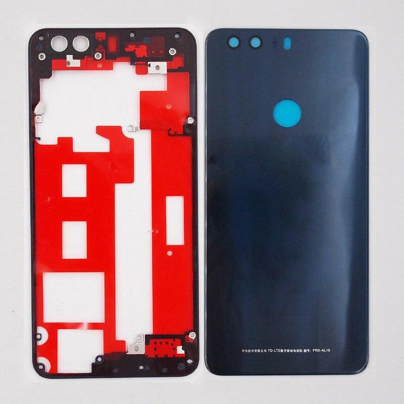 imágenes para 100% Nuevo Medio Marco de Cristal Puerta de la Batería Cubierta de La Contraportada Para Huawei Honor 8 Con 3 M Adhesivo