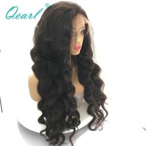 Image 5 - スーパー厚い密度レースフロント人間の髪かつらブラック 480 グラムブラジルの Remy 毛レースフロントかつら 13 × 4 Qearl 髪