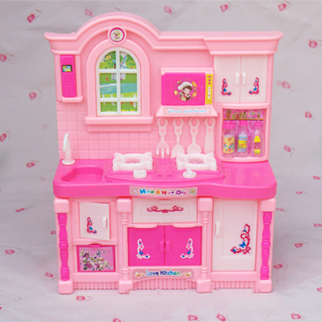 girl birthday gift dollhouse plastic fake kitchen for barbie doll house for 16 bjd