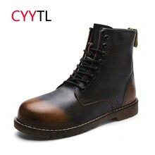 CYYTL/высококачественные мужские ботильоны в байкерском стиле; зимние теплые мужские Ботинки Martin; зимние кожаные ботинки Erkek Bot; безопасные рабочие ботинки; botas hombre