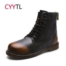 цены CYYTL High Quality Men Ankle Motocycle Boots Winter Warm Martin Male Shoes Snow Leather Erkek Bot Safety Work Botas Hombre