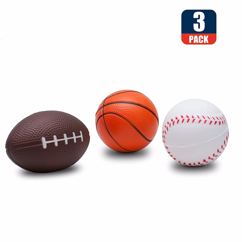 3Psc Squishies Basketball Baseball Squishy Slow Rising Stress Toys Sports Ball Stress Reliever Kids Toy,decorative Props Large