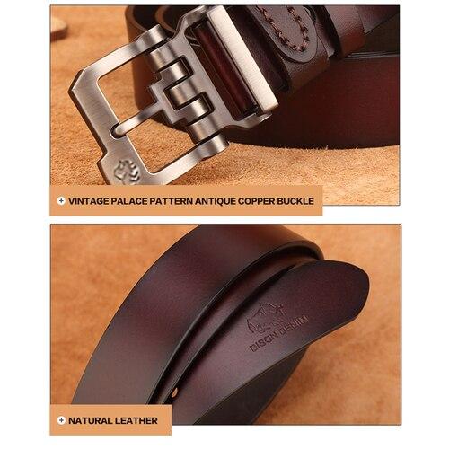 BISON DENIM genuine leather belt for men gift designer jeans belts men's high quality Cowskin Personality buckle Vintage N71223 Karachi