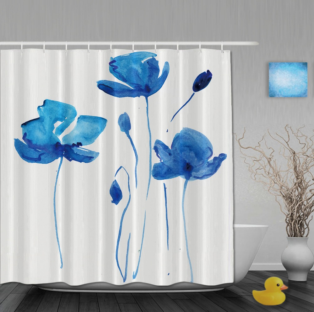 Custom Watercolor Blue flower Waterproof Polyester Shower Curtains ...