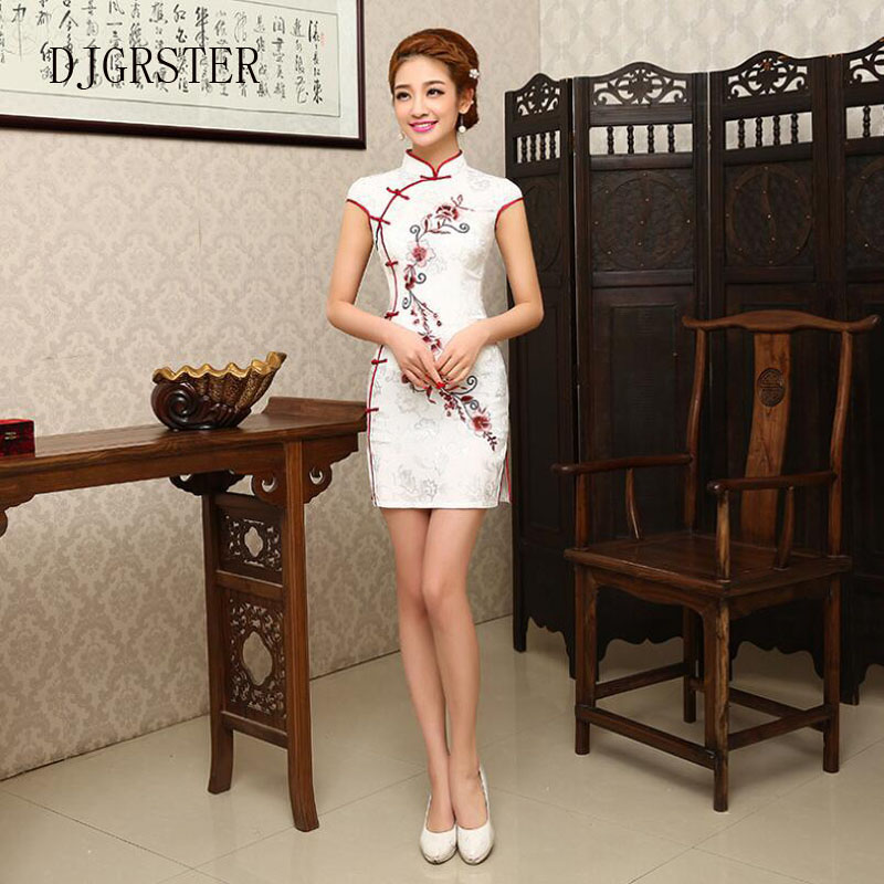 DJGRSTER Summer Cheongsam Vintage Chinese Women Elegant Dress Silk White Embroidery Slim Short Qipao Evening Vestidos Cheongsam