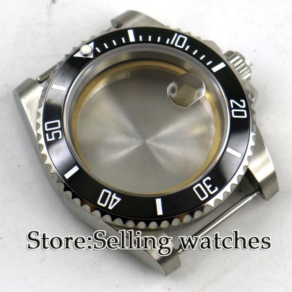 40mm Parnis Sapphire Glass  Black Ceramic Bezel Steel Watch Case Fit 2824 2836 Movement