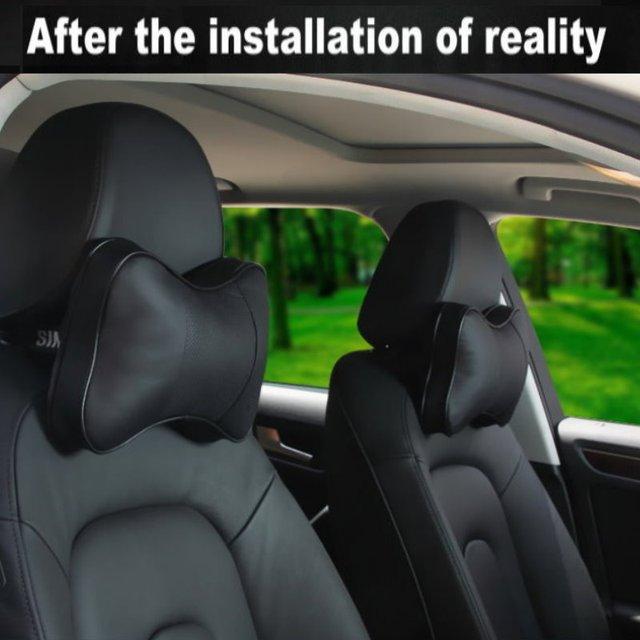 For Mini Cooper / Car Leather neck seat cushion pillow / Car headrest / head neck cervical vertebra pillow / Genuine leather