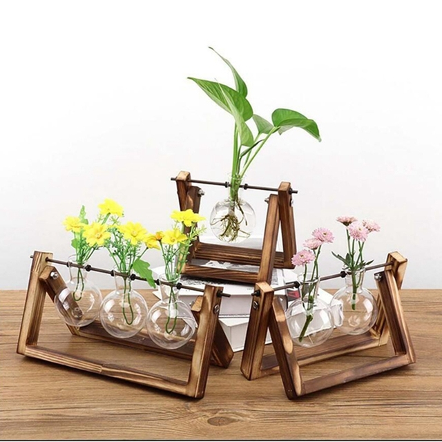Desktop Glass Planter Vase with Retro Solid Wooden Stand and Metal Swivel Holder for Hydroponics Plants Home Wedding Decoration 4