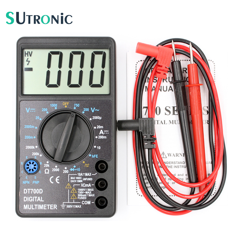 DT700D Mini Digital Multimeter Large Screen with Overload protection Buzzer Square Wave Output Ampere Voltage Ohm