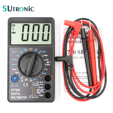 DT700D Mini Digital Multimeter Large Screen with Overload protection Buzzer Square Wave Output Ampere Voltage Ohm Tester Probe
