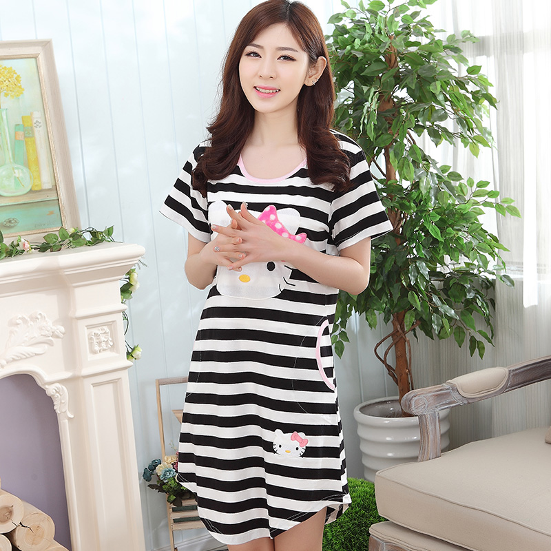 Summer Cotton Stripes Nightwear Women's   Nightgowns  &  Sleepshirts   Cartoon Nightdress Girl Sleepwear Dresses Women Lounge Homewear