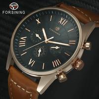 Modern Automatic Men Watches Mechanical Fashion Wrist Watch Three Sub dials Roman Numerals Brown Leather Band reloj masculino