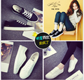 Белый холст обувь женская хан издание студент настольные обувь черный и белый с плоскими обувь досуг дамы плоским кружева-до обувь
