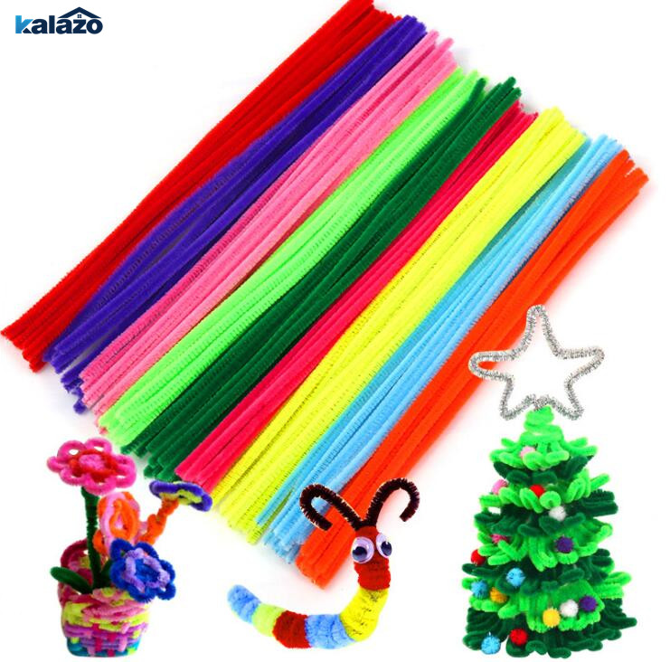 100pcs 30cm Colorful Chenille Stems Pipe Cleaners Kids Toys Christmas Birthday Party Decorations Arts DIY Craft Supplies