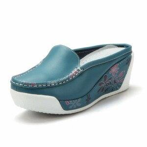 Image 4 - Beyarne本物のレザーシューズレディーカジュアルホワイトウェッジファッション女性の靴通気性の単一のナース厚底プラットフォーム