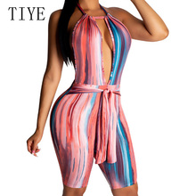 TIYE Sexy Women Gradient Stripe Sleeveless Open Back Halter Jumpsuit Hollow Out Rompers Female Summer Casual Playsuits