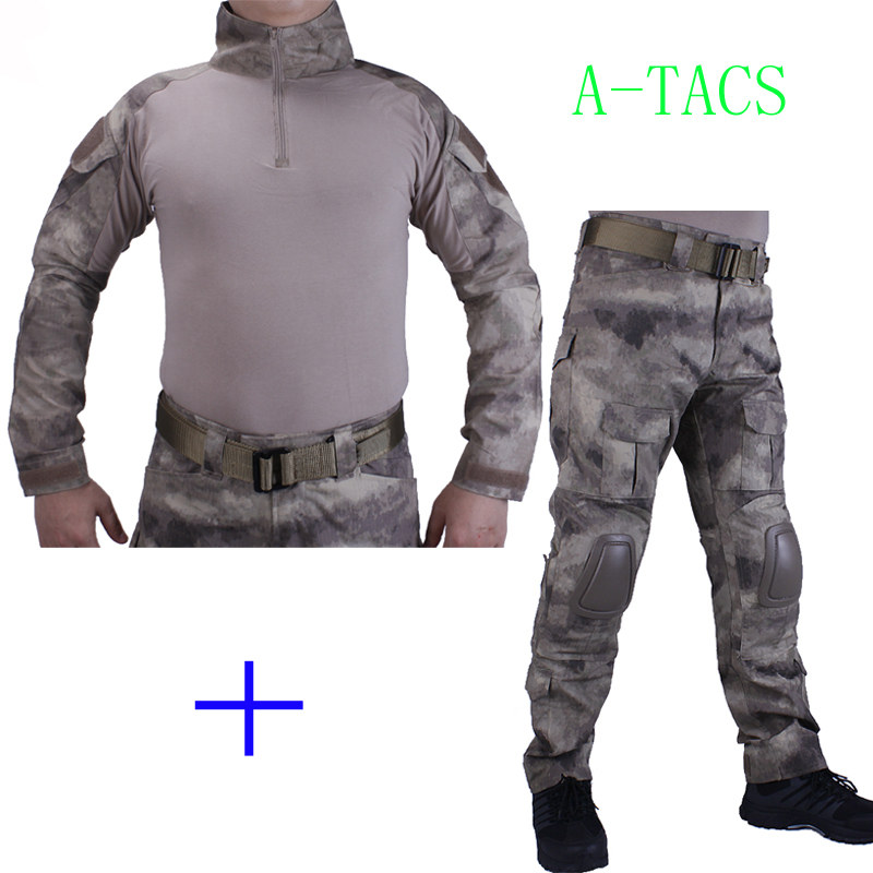 Hunting Camouflage BDU A-TACS Combat uniform shirt met Broek en Elbow& KneePads militaire cosplay uniform ghilliekostuum jacht a tacs fg military uniform combat a tacs uniform bdu military uniform for hunting wargame coat pants