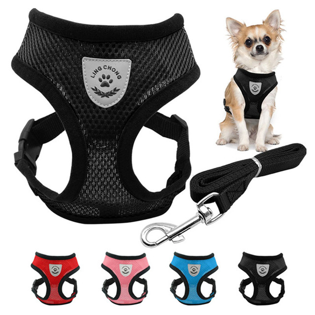 Adjustable Pets Dog Puppy Lead Leash Breathable Mesh Small Dog Pet Harness and Leash Set Puppy Vest For Chihuahua Dog collar