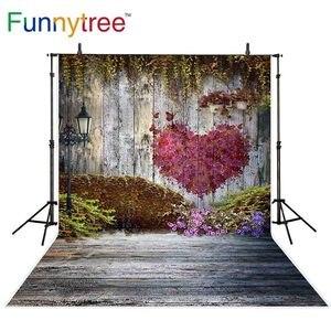 Фотофон Funnytree с изображением деревянного сердца, уличного света, цветов, свадебных фотографий, фон для фотосъемки в студии