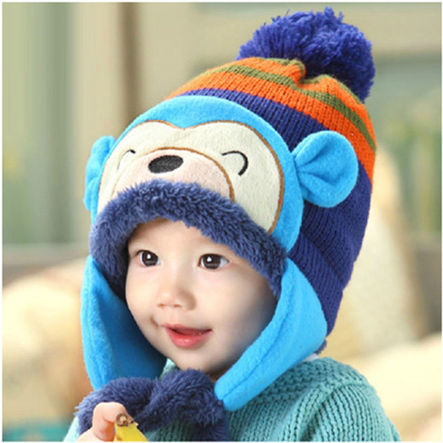 f530ed8d2a0 Hot Sale Winter Boys Girls Winter Ear Flap Warm Hat Bebe Hat With Scarf Beanie  Cap