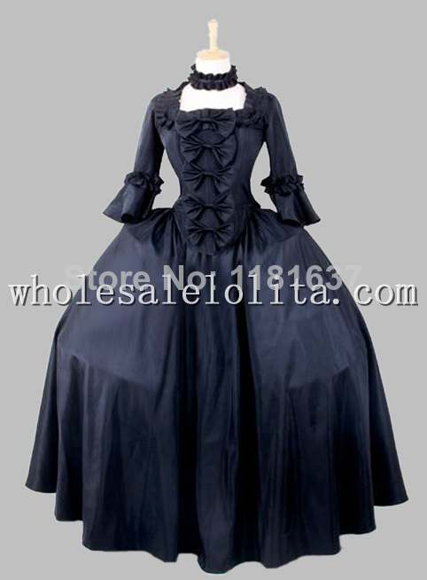 19th Century Gothic Black Victorian Era Big Ball Gown Stage Costume Dress