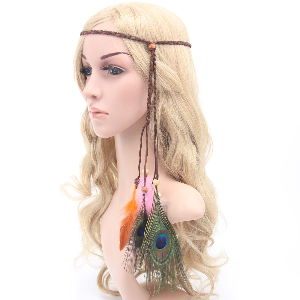 Elegant Women Hair Ribbons Accessories Flocking Hair Band Indian Peacock Tribal Feather Headband Knitted Rope with wood beads
