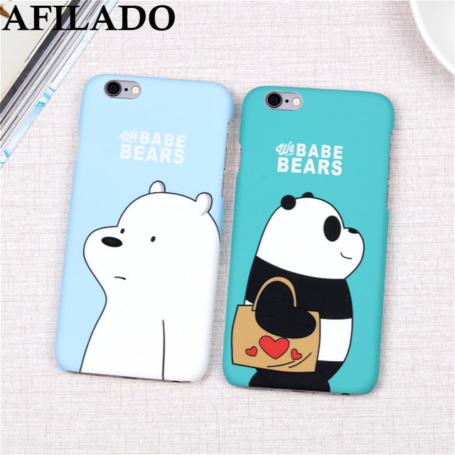 timeless design 3981f c103e US $3.04 |Hot Cute Cartoon Hard Matte Plastic Coque Cover for iPhone 6  Phone Cases Ice Bear Panda Slim Capa Housing for Apple IPhone 6s-in ...