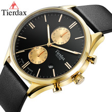 Clock Man watch top brand luxury Leather Men's Wrist Watch Band relogio masculino 100M Waterproof Calendar Chronograph