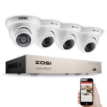 ZOSI система видеонаблюдения 1080P Full HD 4CH DVR 4 шт. 2.0MP 2000TVL цилиндрическая камера безопасности 24 шт. ИК светодиодный наружная домашняя система наблюдения