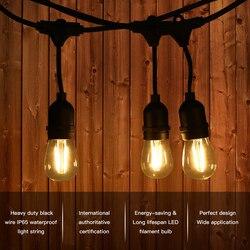 10M 10pcs 2W E26/E27 LED String Lights Commerciële Waterdichte Tuin Patio Uitschuifbare Staart Verlichting Tuin party Bruiloft Pergola