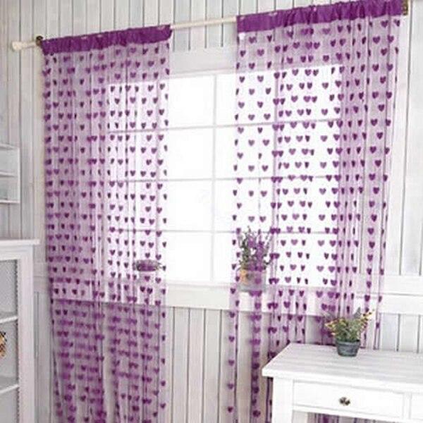 Hot Sale Door Curtains Cute Heart Line Pattern Tassel String Window Room Divider Curtain Valance