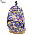Mara's Dream Vintage Retro Rose Floral Printing Backpack Women's Canvas Travel Backpack for Teenage Girls Rucksack
