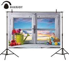 Allenjoy Easter photography backdrop window egg flower sky spring background photobooth photo studio photocall printed new