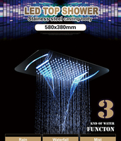 Led Shower Set Multifunction Bathroom Shower Sets Luxury SUS304 Thermostatic Mixer Waterfall Rainfall SPA Ceiling Big Rain