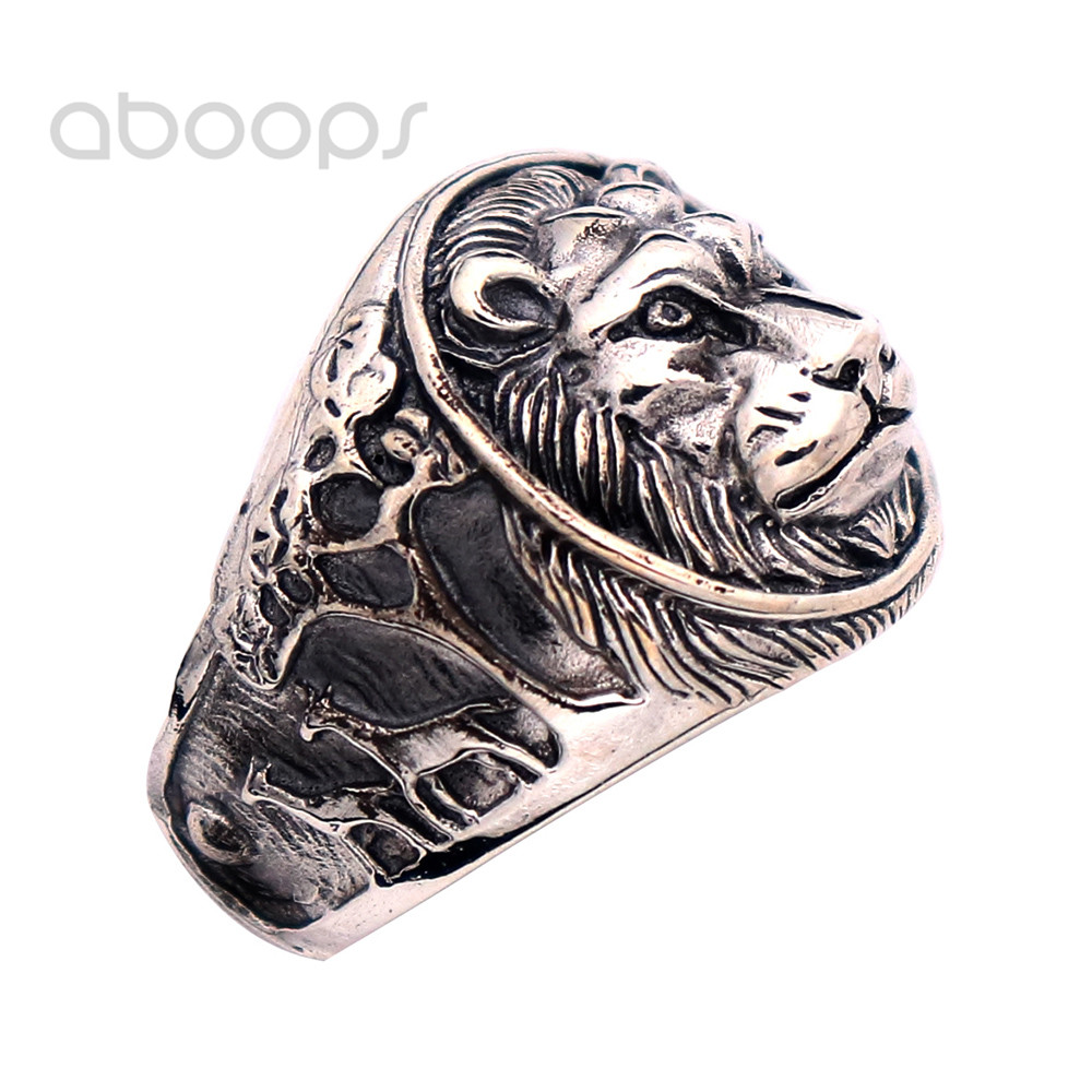 Vintage Black Solid 925 Sterling Silver Irish Claddagh Ring with Lion Head for Men Size 7.5 8 9 10 11 Free Shipping цена