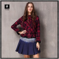 Women Boho Blouses 2018 Keer Spring Preppy Style Top Feminina Stand Collar Flare Sleeve Vintage Plaid