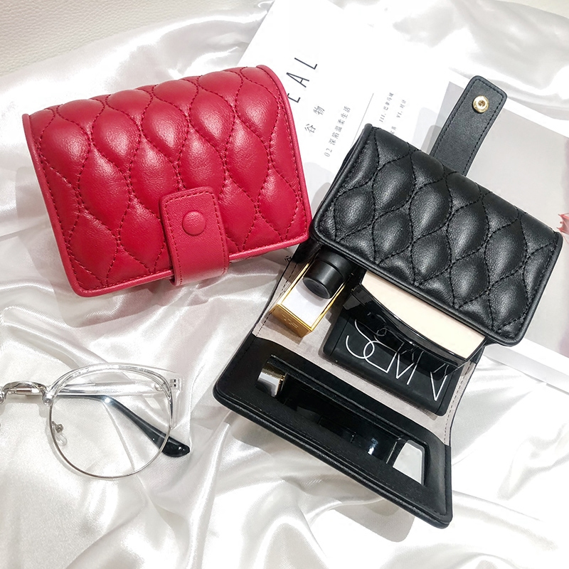 Women Portable Lipstick Box Bag Environmental Protection Leather Portable Lipstick Box with Mirror Black Pink Red Cosmetic BagWomen Portable Lipstick Box Bag Environmental Protection Leather Portable Lipstick Box with Mirror Black Pink Red Cosmetic Bag