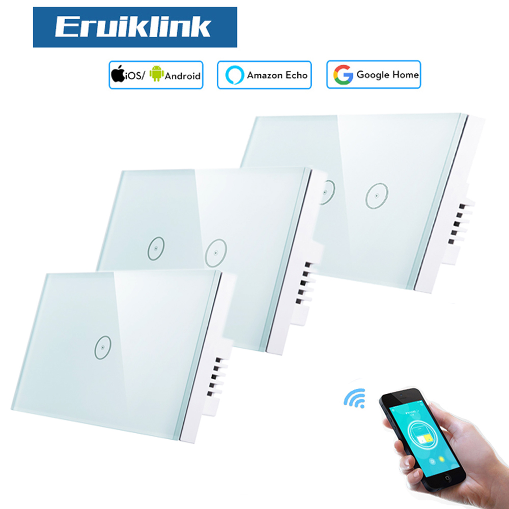 Eruiklink US Standard Smart Wifi Light Switches,Touch Wall Switches,Compatible with Alexa and Work with Google Home, APP Control mini wifi rgb strip light controller with music control and voice control compatible with google home