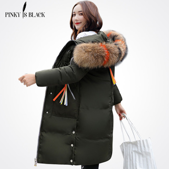 PinkyIsBlack New Warm Winter Jacket Women Hooded Down Cotton-Padded Long Parka Winter Coat Women Large Fur Thicken Wadded Jacket недорого