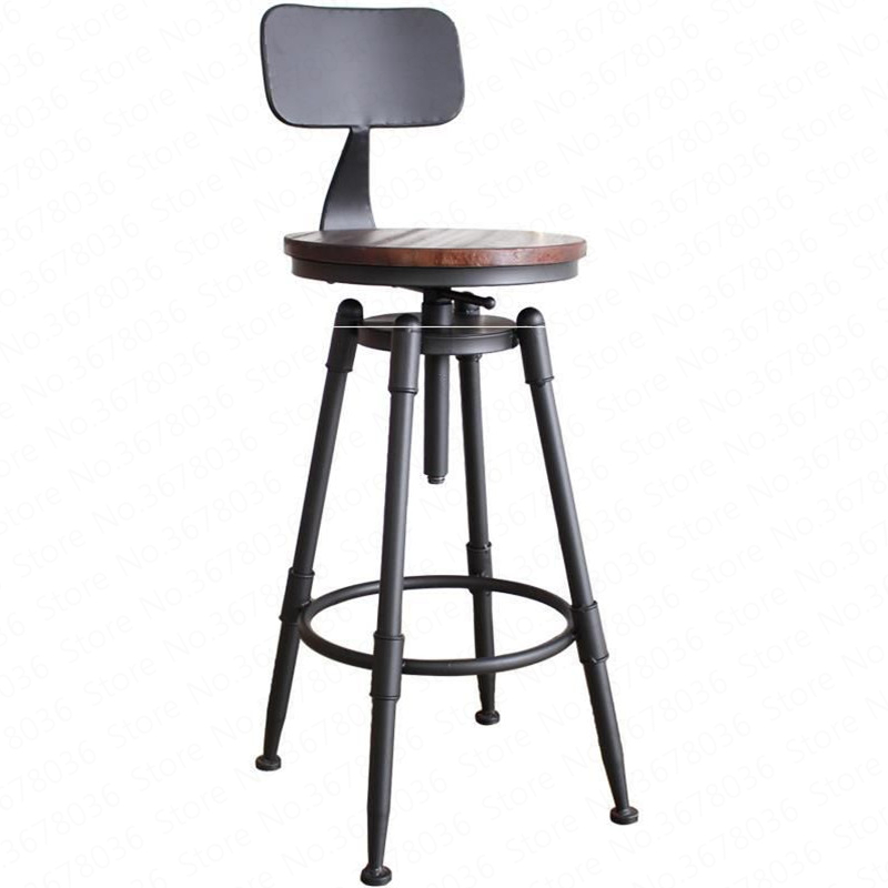 Bar Stool Chair Rotating Solid Wood High Wrought Iron Back Home Bar Stool Modern Minimalist  Tabouret De Bar Stools Modern(China)