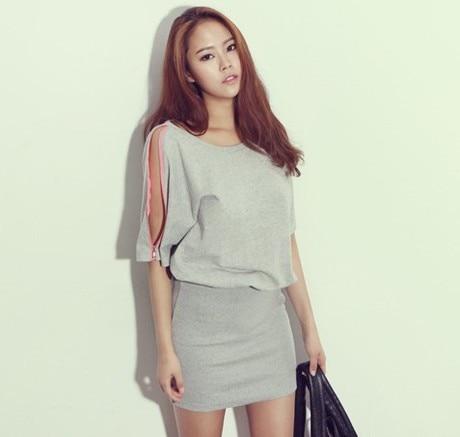 f367983db7 Korean DABA-girl summer style dresses New fluorescence zipper Encase hip  O-Neck sports sexy dress vestidos largos dress women