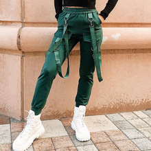 Women Streetwear Trousers Cargo Pants Casual Joggers Black High Waist Loose Female Trousers Harajuku Spoof Ladies Pants Capri
