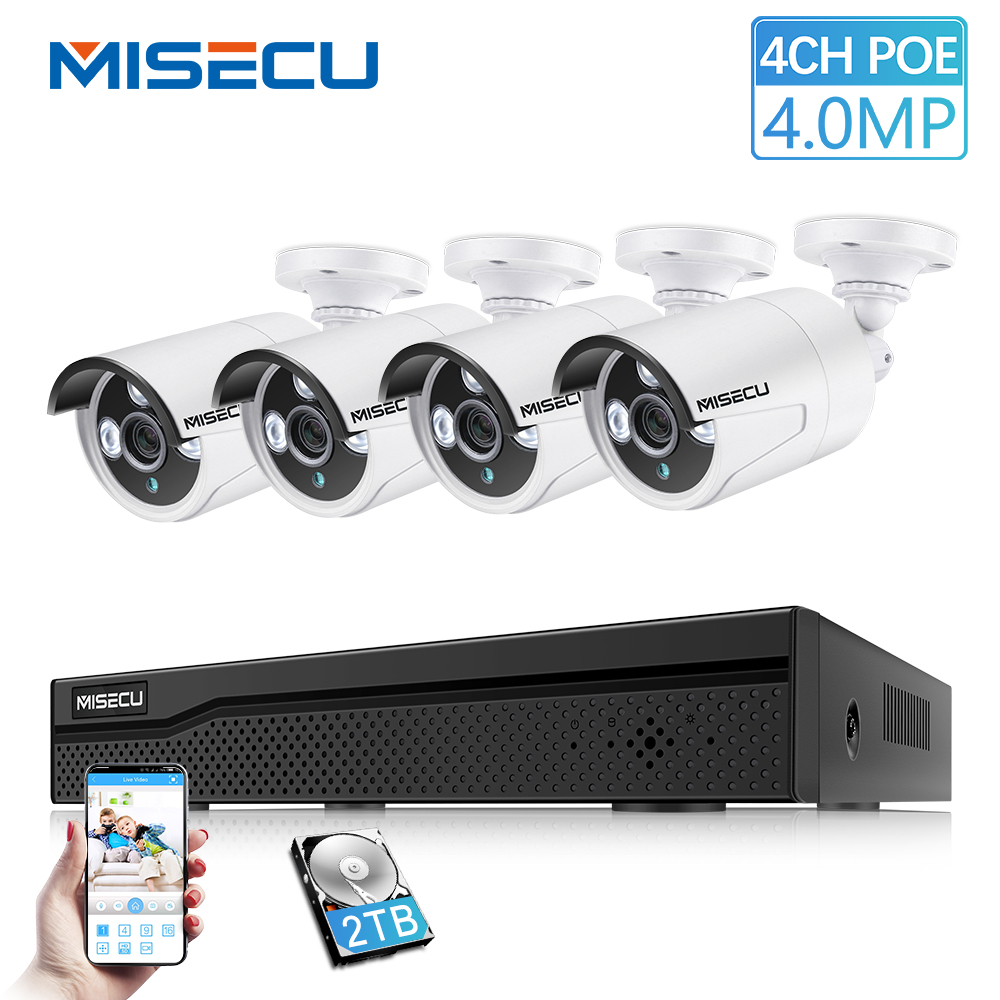 MISECU HD 4CH 4.0MP POE NVR CCTV Système de Sécurité H.265 POE IP Camara Bullet Extérieure P2P IR Vision kit de surveillance 2 TB HDD