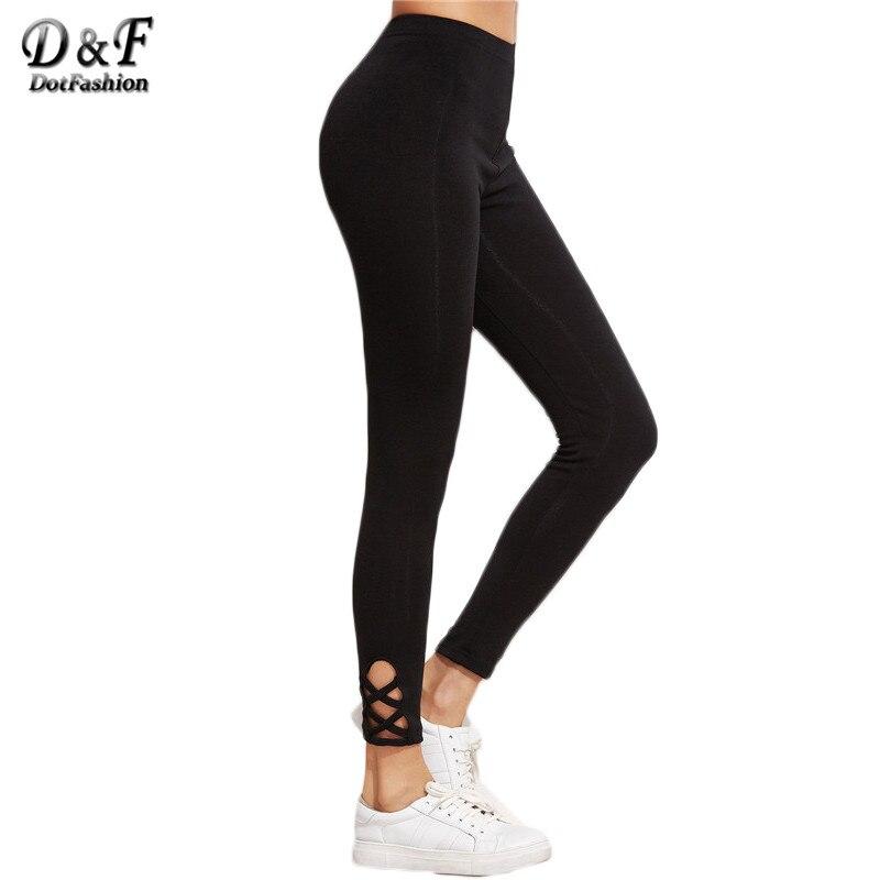 Dotfashion тренировки Леггинсы для женщин Фитнес модные леггинсы для Женский вырезать высота талии черный решетки низ Леггинсы для женщин