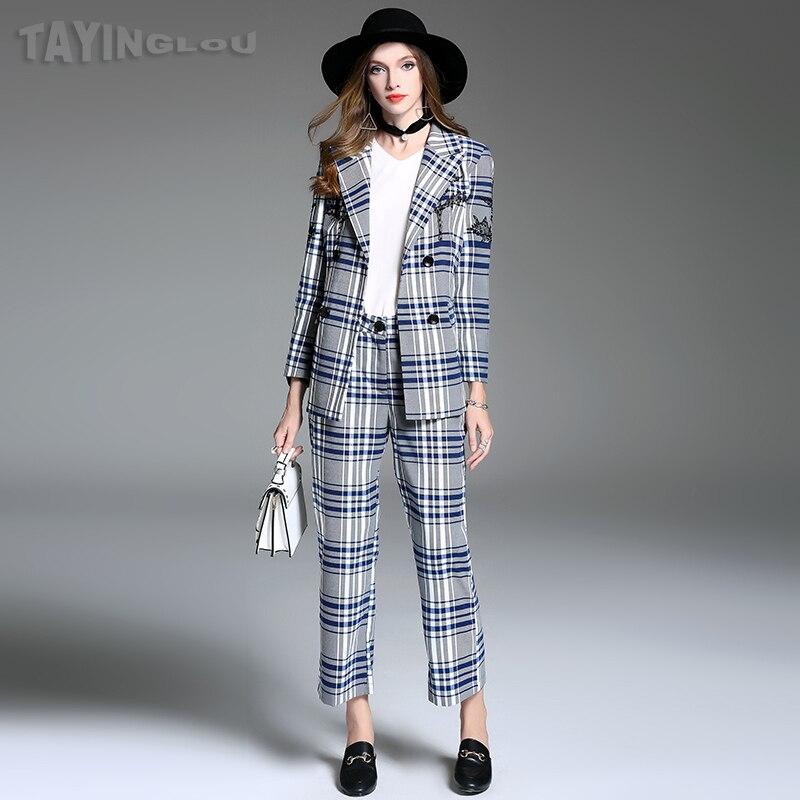Women Sets 2018 TaYingLou Spring Cotton Slim T-Shirt + Linen Strap Pants Sets Ankle-Length Pants ANT301
