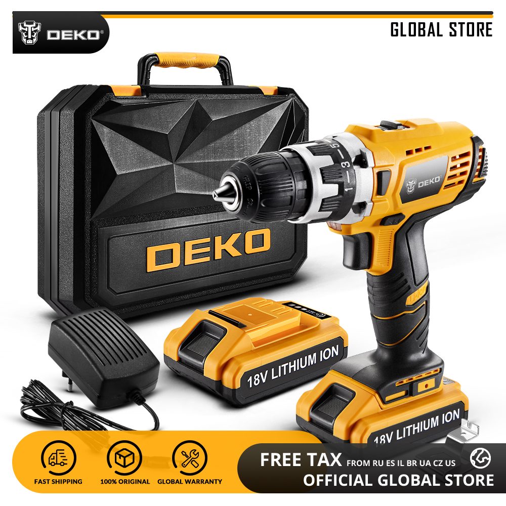 DEKO GCD18DU2 18V Mini Power Driver with LED Light 2 Speed Lithium-Ion Battery Cordless Drill Home DIY Electric ScrewdriverDEKO GCD18DU2 18V Mini Power Driver with LED Light 2 Speed Lithium-Ion Battery Cordless Drill Home DIY Electric Screwdriver