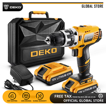 DEKO GCD18DU2 18V Mini Power Driver with LED Light 2 Speed Lithium-Ion Battery Cordless Drill Home DIY Electric Screwdriver