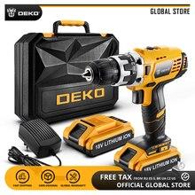DEKO GCD18DU2 18 в мини-драйвер питания с светодиодный подсветкой 2 скоростной литий-ионный аккумулятор Аккумуляторная дрель домашняя DIY электрическая отвертка