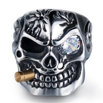 Gold Smoking Pipe Biker Rings 2